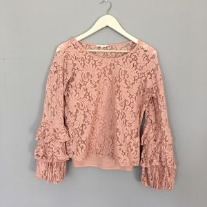❤️ Solitaire Pink Lace Blouse Trumpet Sleeves